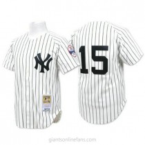 Mens Mitchell And Ness Thurman Munson New York Yankees #15 Authentic White Throwback A592 Jersey