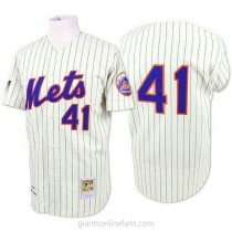 Mens Mitchell And Ness Tom Seaver New York Mets #41 Authentic Blue White Strip Throwback A592 Jerseys