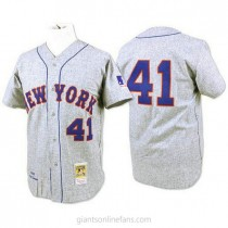 Mens Mitchell And Ness Tom Seaver New York Mets #41 Authentic Grey 1969 Throwback A592 Jersey