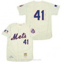 Mens Mitchell And Ness Tom Seaver New York Mets #41 Replica Cream 1969 Throwback A592 Jerseys