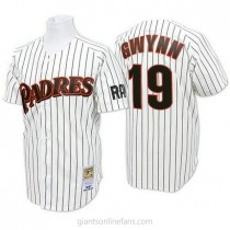 Mens Mitchell And Ness Tony Gwynn San Diego Padres #19 Authentic Blue White Strip Throwback A592 Jersey