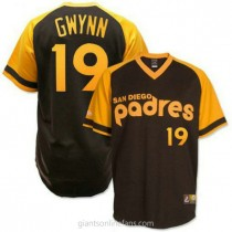 Mens Mitchell And Ness Tony Gwynn San Diego Padres #19 Authentic Brown Throwback A592 Jerseys