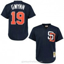 Mens Mitchell And Ness Tony Gwynn San Diego Padres #19 Authentic Navy Blue 1996 Throwback A592 Jersey