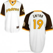 Mens Mitchell And Ness Tony Gwynn San Diego Padres #19 Replica White Throwback A592 Jersey