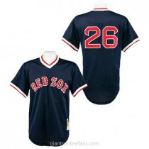 Mens Mitchell And Ness Wade Boggs Boston Red Sox #26 Authentic Navy Blue 1991 Throwback A592 Jerseys