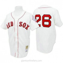Mens Mitchell And Ness Wade Boggs Boston Red Sox #26 Authentic White 1987 Throwback A592 Jerseys