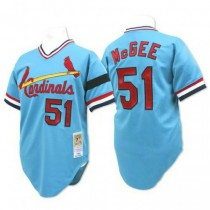 Mens Mitchell And Ness Willie Mcgee St Louis Cardinals #51 Blue Throwback A592 Jerseys Replica
