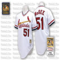 Mens Mitchell And Ness Willie Mcgee St Louis Cardinals #51 White Throwback A592 Jersey Authentic