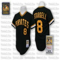 Mens Mitchell And Ness Willie Stargell Pittsburgh Pirates #8 Authentic Black Throwback A592 Jersey