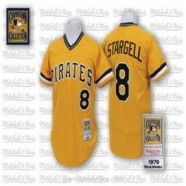 Mens Mitchell And Ness Willie Stargell Pittsburgh Pirates #8 Authentic Gold Throwback A592 Jerseys