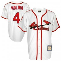 Mens Mitchell And Ness Yadier Molina St Louis Cardinals #4 White Throwback A592 Jersey Authentic