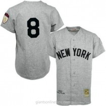 Mens Mitchell And Ness Yogi Berra New York Yankees #8 Authentic Grey 1951 Throwback A592 Jersey
