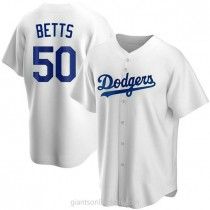 Mens Mookie Betts Los Angeles Dodgers #50 Replica White Home A592 Jerseys
