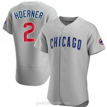 Mens Nico Hoerner Chicago Cubs #2 Authentic Gray Road A592 Jersey