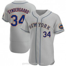 Mens Noah Syndergaard New York Mets #34 Authentic Gray Road A592 Jerseys