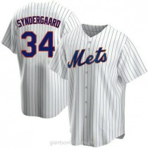 Mens Noah Syndergaard New York Mets #34 Replica White Home A592 Jerseys