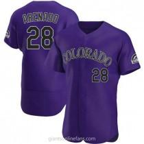 Mens Nolan Arenado Colorado Rockies #28 Authentic Purple Alternate A592 Jerseys
