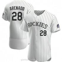 Mens Nolan Arenado Colorado Rockies #28 Authentic White Home A592 Jerseys
