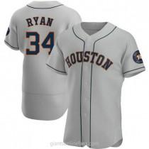 Mens Nolan Ryan Houston Astros #34 Authentic Gray Road A592 Jerseys