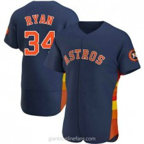 Mens Nolan Ryan Houston Astros #34 Authentic Navy Alternate A592 Jerseys