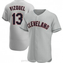 Mens Omar Vizquel Cleveland Indians #13 Authentic Gray Road A592 Jersey