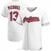 Mens Omar Vizquel Cleveland Indians #13 Authentic White Home A592 Jersey