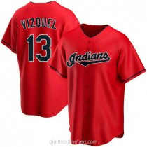 Mens Omar Vizquel Cleveland Indians #13 Replica Red Alternate A592 Jerseys