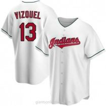 Mens Omar Vizquel Cleveland Indians #13 Replica White Home A592 Jersey