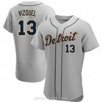 Mens Omar Vizquel Detroit Tigers #13 Authentic Gray Road A592 Jerseys