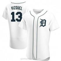 Mens Omar Vizquel Detroit Tigers #13 Authentic White Home A592 Jersey