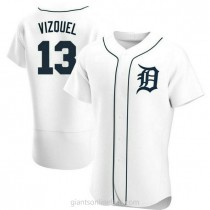 Mens Omar Vizquel Detroit Tigers #13 Authentic White Home A592 Jerseys