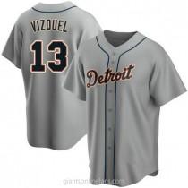 Mens Omar Vizquel Detroit Tigers #13 Replica Gray Road A592 Jersey