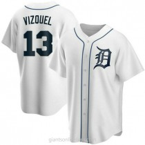 Mens Omar Vizquel Detroit Tigers #13 Replica White Home A592 Jerseys