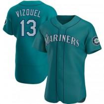 Mens Omar Vizquel Seattle Mariners #13 Authentic Aqua Alternate A592 Jerseys
