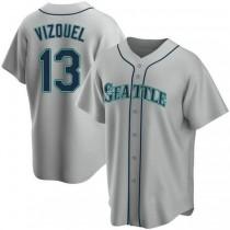 Mens Omar Vizquel Seattle Mariners #13 Replica Gray Road A592 Jerseys