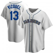Mens Omar Vizquel Seattle Mariners #13 Replica White Home Cooperstown Collection A592 Jerseys