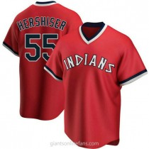 Mens Orel Hershiser Cleveland Indians Replica Red Road Cooperstown Collection A592 Jersey