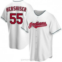 Mens Orel Hershiser Cleveland Indians Replica White Home A592 Jersey