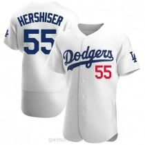 Mens Orel Hershiser Los Angeles Dodgers #55 Authentic White Home Official A592 Jerseys
