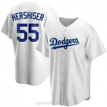 Mens Orel Hershiser Los Angeles Dodgers #55 Replica White Home A592 Jersey