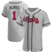 Mens Ozzie Albies Atlanta Braves #1 Authentic Gray Road A592 Jersey
