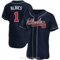 Mens Ozzie Albies Atlanta Braves #1 Authentic Navy Alternate A592 Jerseys