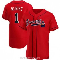 Mens Ozzie Albies Atlanta Braves #1 Authentic Red Alternate A592 Jersey