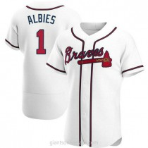 Mens Ozzie Albies Atlanta Braves #1 Authentic White Home A592 Jersey