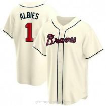 Mens Ozzie Albies Atlanta Braves #1 Replica Cream Alternate A592 Jerseys
