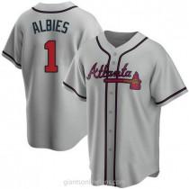 Mens Ozzie Albies Atlanta Braves #1 Replica Gray Road A592 Jersey