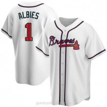 Mens Ozzie Albies Atlanta Braves #1 Replica White Home A592 Jersey