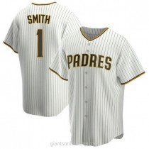 Mens Ozzie Smith Ozzie Smith San Diego Padres #1 Replica White Brown Home A592 Jersey