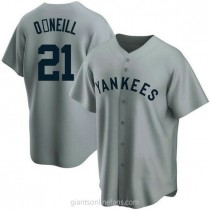 Mens Paul Oneill New York Yankees #21 Replica Gray Road Cooperstown Collection A592 Jersey