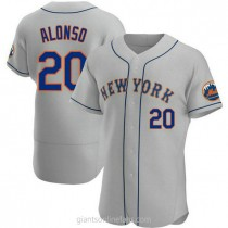 Mens Pete Alonso New York Mets #20 Authentic Gray Road A592 Jerseys